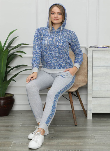 Akbeniz Kadın Pamuk Kapşonlu Cepli Eşofman Takım 9015 Mavi